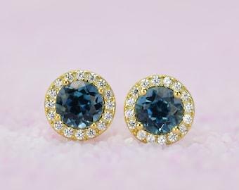 1.4 ct 18k Gold London Blue Topaz Earrings, Blue Earrings,Topaz Earrings,Gemstone Earrings,Round Studs,Bridal Earrings,November Birthstone