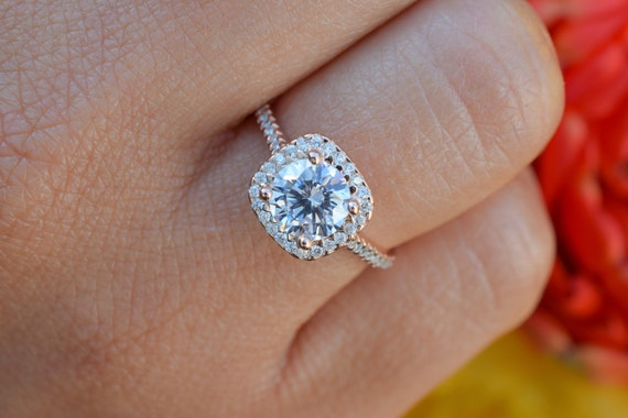 Sterling Silver Square Halo Ring 1 Carat Cushion Halo Engagement Ring Dainty Promise Ring for Her Man Made Diamond Wedding Bridal Ring