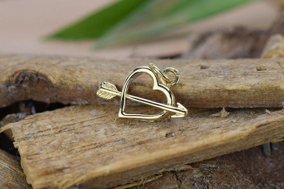 14k Solid Gold Heart Pendant, Vintage Heart Pendan