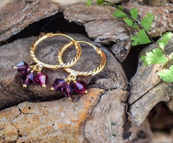 21k Vintage Hoop Earrings, Hoop Earring, Gold Hoop