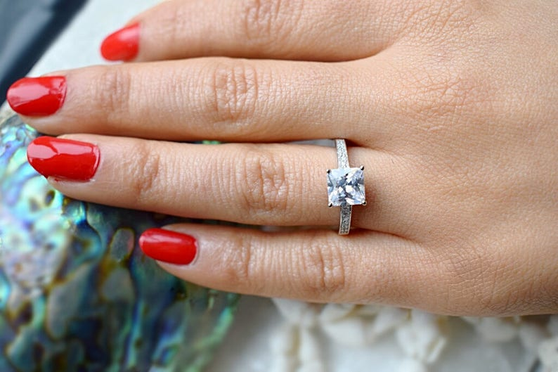 Man Made Diamond Simulant,Wedding Ring,Promise Ring Engagement Ring Ring Solitaire Ring Princess Cut Silver Ring 1.8 ctw Final Sale