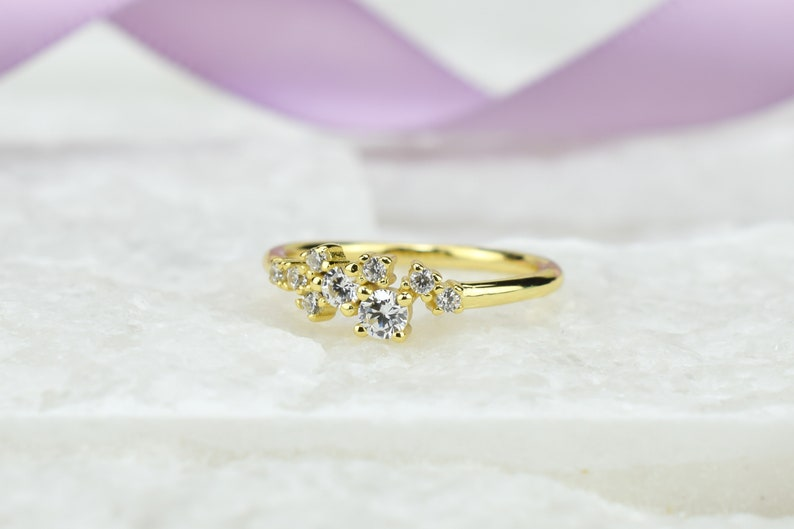 Gift For Her Gold ring 0.5 ct Gold Cluster Ring Engagement Ring Wedding Ring,Anniversary Ring,Diamond Cluster Ring Promise Ring