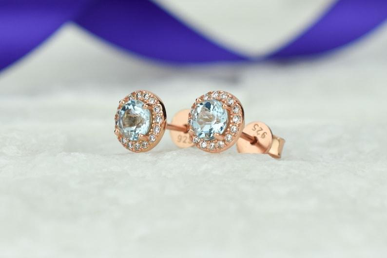 Bridal Earrings,December Birthstone 1.4 ct 18k Rose Natural Topaz Halo Earrings Blue Stud Earrings,Topaz Earrings,Gemstone Earrings,Round