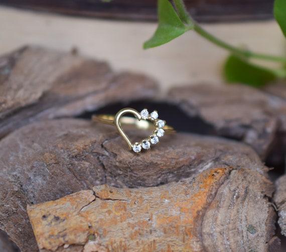 14k Gold Heart Ring, Vintage Heart Ring, Gold Hear