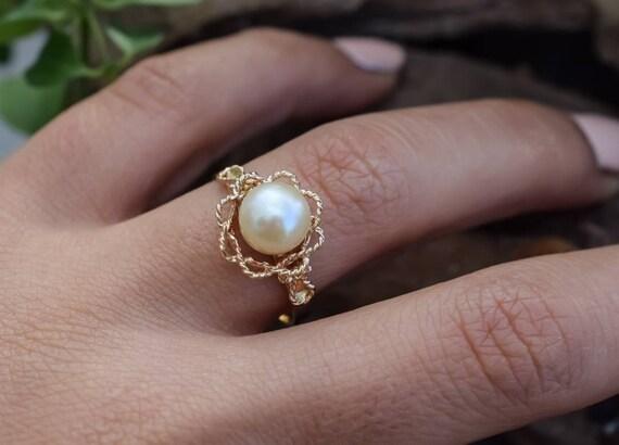 18k Vintage Pearl Ring, Pearl Ring, 18k Gold Ring,