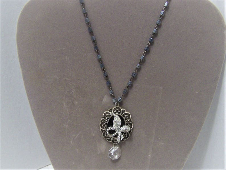 Repurposed Vintage and New Handmade Pendent Necklace in SilvertonePewter