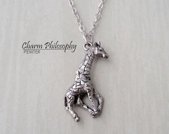Giraffe Necklace - Silver Giraffe Pendant - Zoo Animal Gifts - Antique Silver Pewter Jewelry