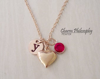 Gold Heart Necklace - Antique Gold Heart Charm - Monogram Personalized Initial and Birthstone