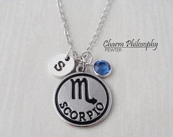 Scorpio Zodiac Necklace - Monogram Personalized Initial and Birthstone - Antique Silver Horoscope Pendant