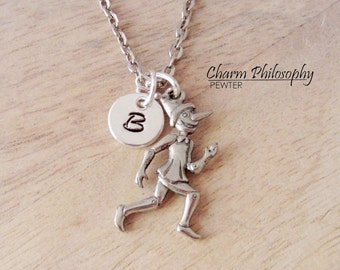 Pinocchio Necklace - 3D Reversible Fairy Tale Charm - Initial Necklace - Antique Silver Pewter Jewelry
