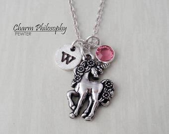 Unicorn Necklace - Monogram Personalized Initial and Birthstone - Unicorn Charm - Magical Jewelry