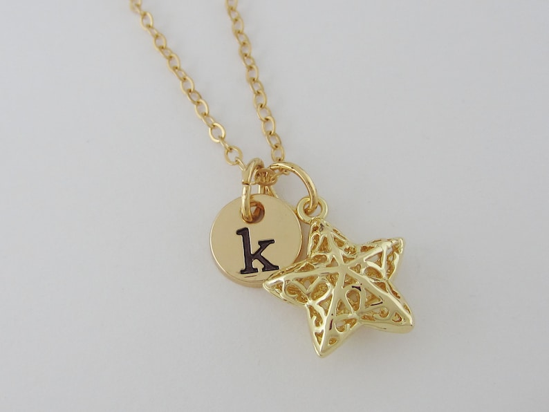 Monogram Initial Star Necklace Small Star Jewelry AC Gold Star Charm Personalized Star Necklace Filigree Star Pendant