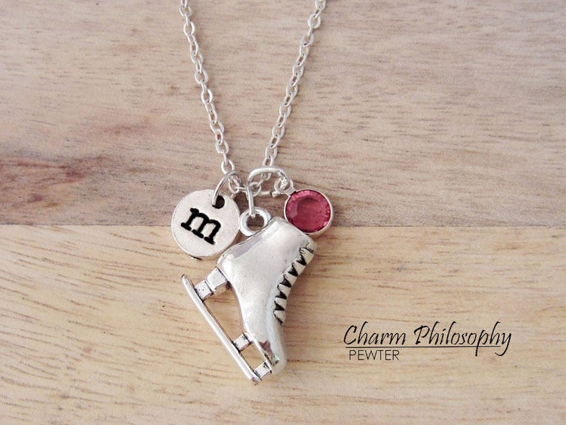 antique silver personalized monogram initial hand stamped figure skating initial necklace Ice Skating necklace figure skater