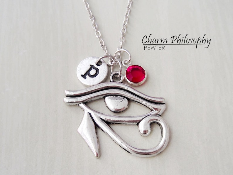 Egyptian Eye of Horus Necklace - Antique Silver Ancient Egypt Jewelry -  Monogram Personalized Initial and Birthstone