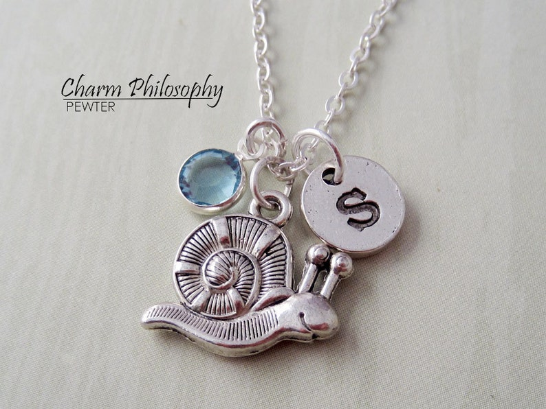 Silver Snail Pendant Monogram Personalized Initial and Birthstone Snail Necklace