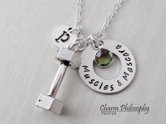 Muscles And Mascara Dumbbell Necklace