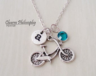 Bicycle Charm Necklace - Antique Silver Jewelry - Monogram Personalized Initial and Birthstone - Bike Rider's Gifts