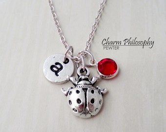 Ladybug Necklace - Antique Silver Insect Necklace - Monogram Personalized Initial and Birthstone