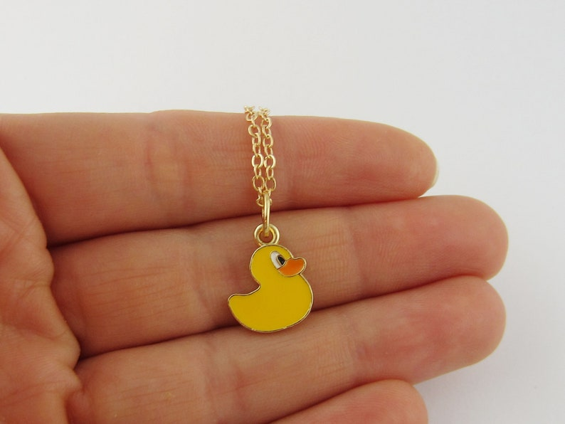 Toy Duck Monogram Initial Necklace Rubber Ducky Necklace Yellow Epoxy Rubber Duck Charm Antique Gold and Enamel Duck Jewelry
