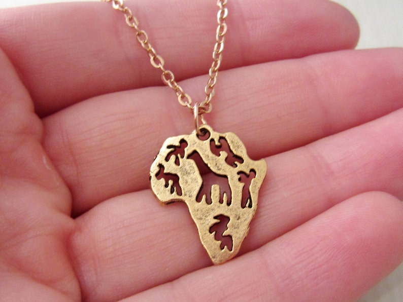 Continent Jewelry Gold Africa Necklace Antique Gold Pewter Jewelry