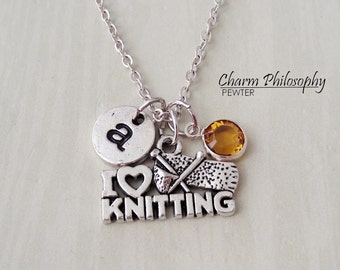 Knitting Necklace - I Love Knitting Charm - Monogram Personalized Initial and Birthstone - Antique Silver Jewelry