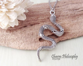 Snake Necklace - Antique Silver Jewelry - Boa Constrictor Charm
