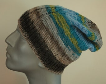 33a46303e180b Handknit cable beanie slouch in 100% superwash wool. Adult or Teen medium.  Blues