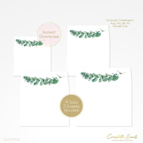 PS323-06 A7 Invitation /& A1 Reply Card Envelope Wedding Invitation Envelope Template Eucalyptus Greenery Wedding Envelope