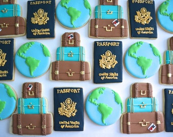 One Dozen Travel Sugar Cookies - Sugar Cookies - Travel Cookies - World Traveler Cookies