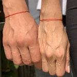 White Gold Red String Bracelet, Valentines Day Gift, Red String of Fate Bracelet, Anniversary Gift, Matching Bracelet