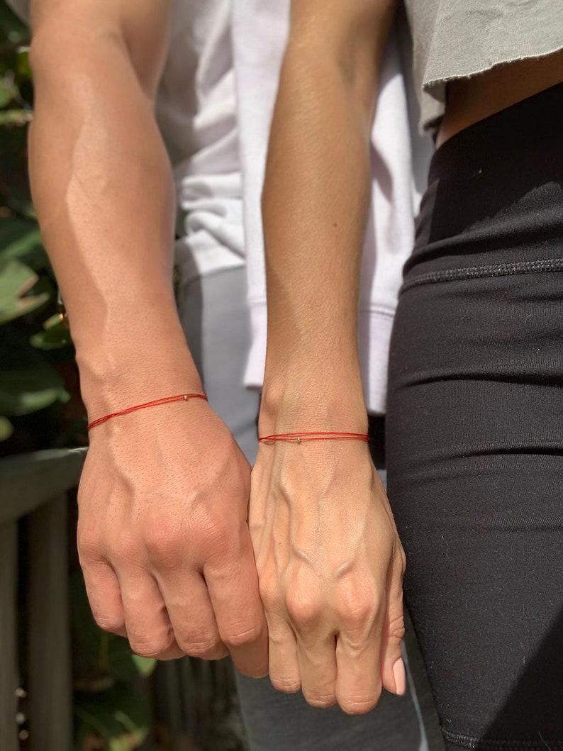White Gold Red String Bracelet Valentines Day Gift Red image 0