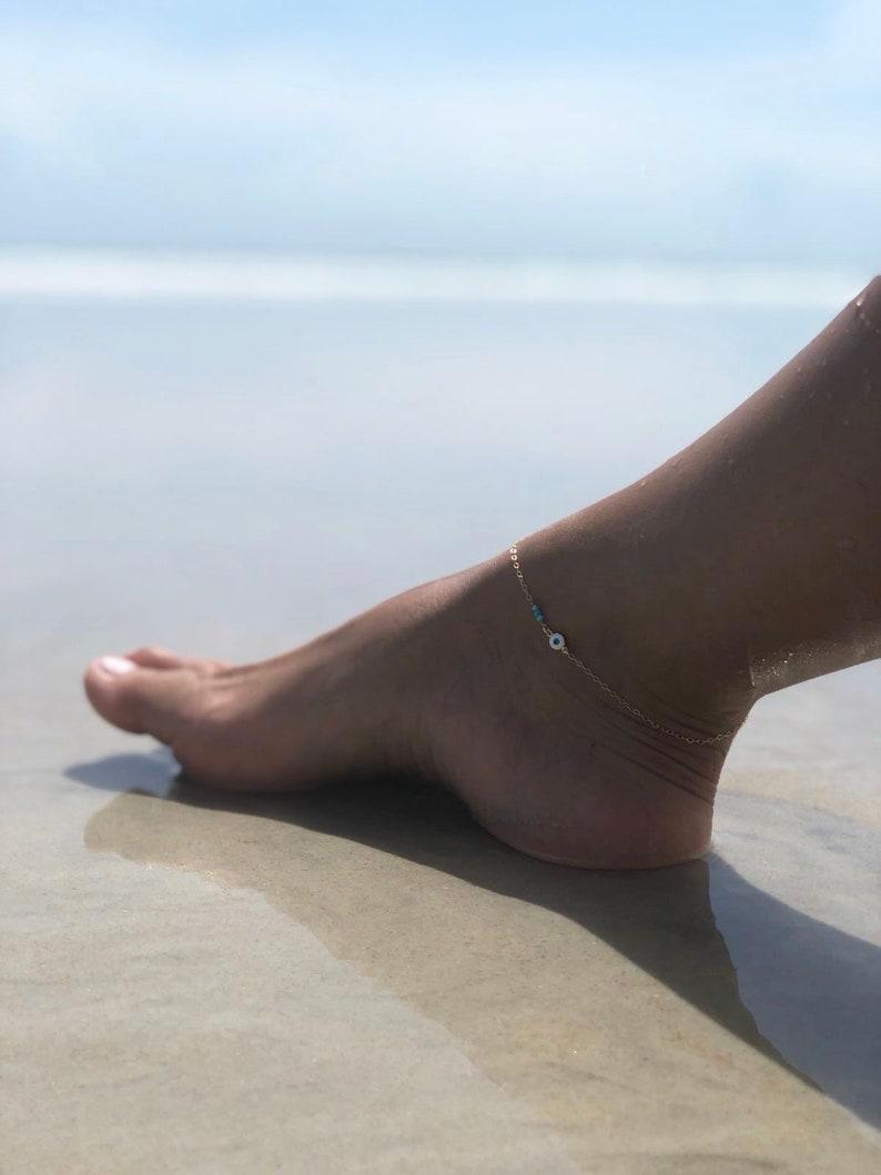 Gold Anklet Evil Eye Anklet Layering Anklet Gold filled Anklet Sterling Silver Beach Anklets Valentines Gift Summer Anklet Turquoise Anklet