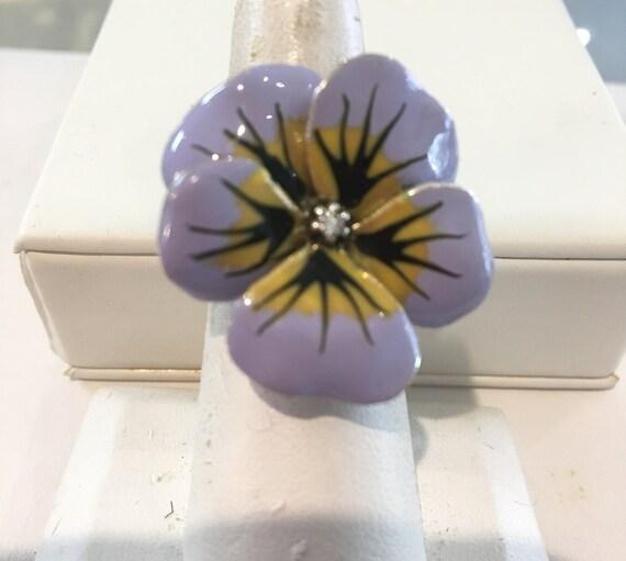Enameled 14k Pansy Flower ring