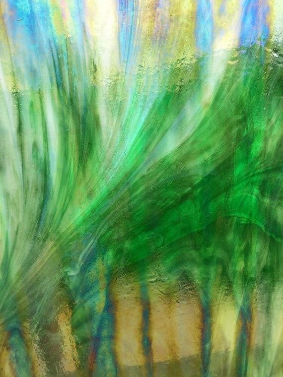 Green//Blue Wispy Opal Stained Glass Sheet Wissmach Glass Sheet