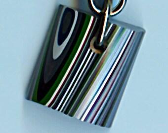 14.97mm x 15.55mm x 12.33mm Fordite Key Chain 1757