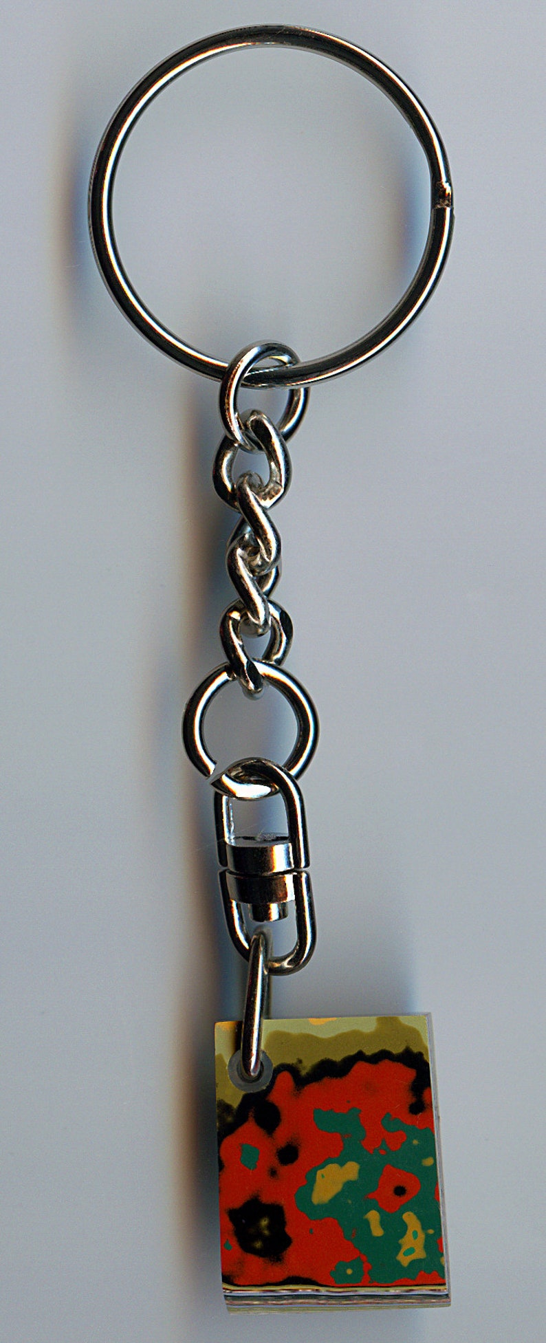25.4mm x 19.64mm x 5.56mm Premium Grade Fordite Fordite Key Chain 1890