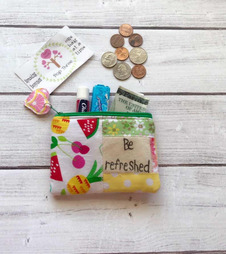 eco friendly Tropical fruit patchwork zipper pouch zippered card wallet inspirational pouch coin pouch