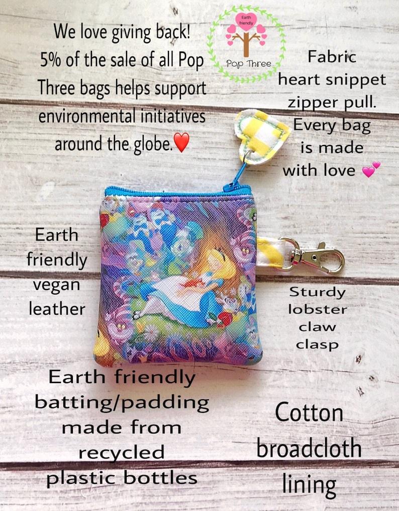 Alice in Wonderland zipper pouch coin purse eco friendly vegan leather