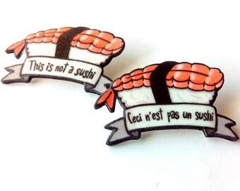 Sushi pin, Ebi sushi brooch, Funny pin, Miniature food, Magritte inspired, Japanese food, Bag's pin