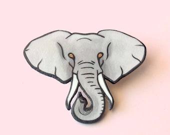 Elephant pin, Animal brooch, Animal totem, Grey, Animal lover gift, Spirit animal
