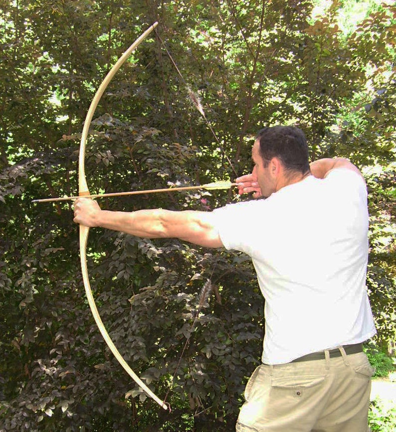 Hunting Longbow of White Ash, Longbow for Hunting, Wooden Longbow