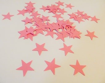 Pink Star Die Cuts - Small Stars -  Confetti - Pink Cardstock - Greeting Cards - Scrapbook - Party Decor