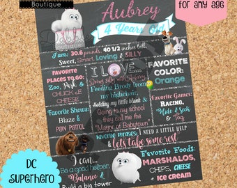 Secret Life of Pets Birthday Chalkboard / Gidget birthday chalkboard