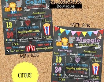 Circus Birthday Chalkboard / 1st birthday chalkboard / 2nd birthday chalkboard/ Circus stat board