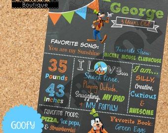 Goofy Birthday Stat Chalkboard/ Goofy Birthday Chalkboard