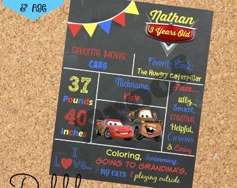 Cars Birthday Chalkboard / 1st birthday chalkboard / 2nd birthday chalkboard/ McQueen Mater board