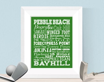 Golf Word Collage 8x10 16x20 Digital   Man Cave Office Decor Boy Bedroom  Home Gym   Famous Golf Courses, Pebble Beach, Golf Decor, Christmas