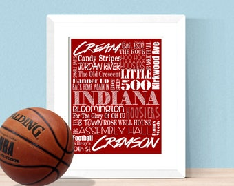 ea41444a0 Indiana University Word Collage 8x10 16x20 Digital - Home Decor Office  Decor Boy Bedroom Decor Home Gym Man Cave - Hoosiers, IU, Bloomington