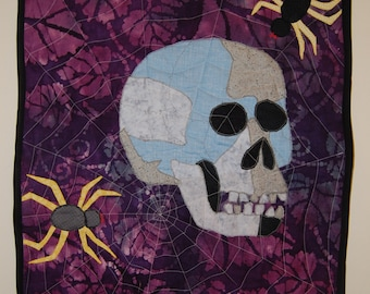 Halloween Skeleton and Spider Quilted Applique Wall Hanging