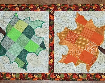 Fall Maple Leaf Patchwork Quilted Table Runner